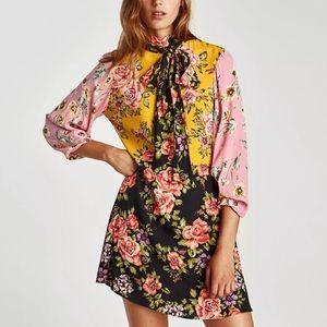🖤SALE🖤 Zara - floral neck tie mini dress